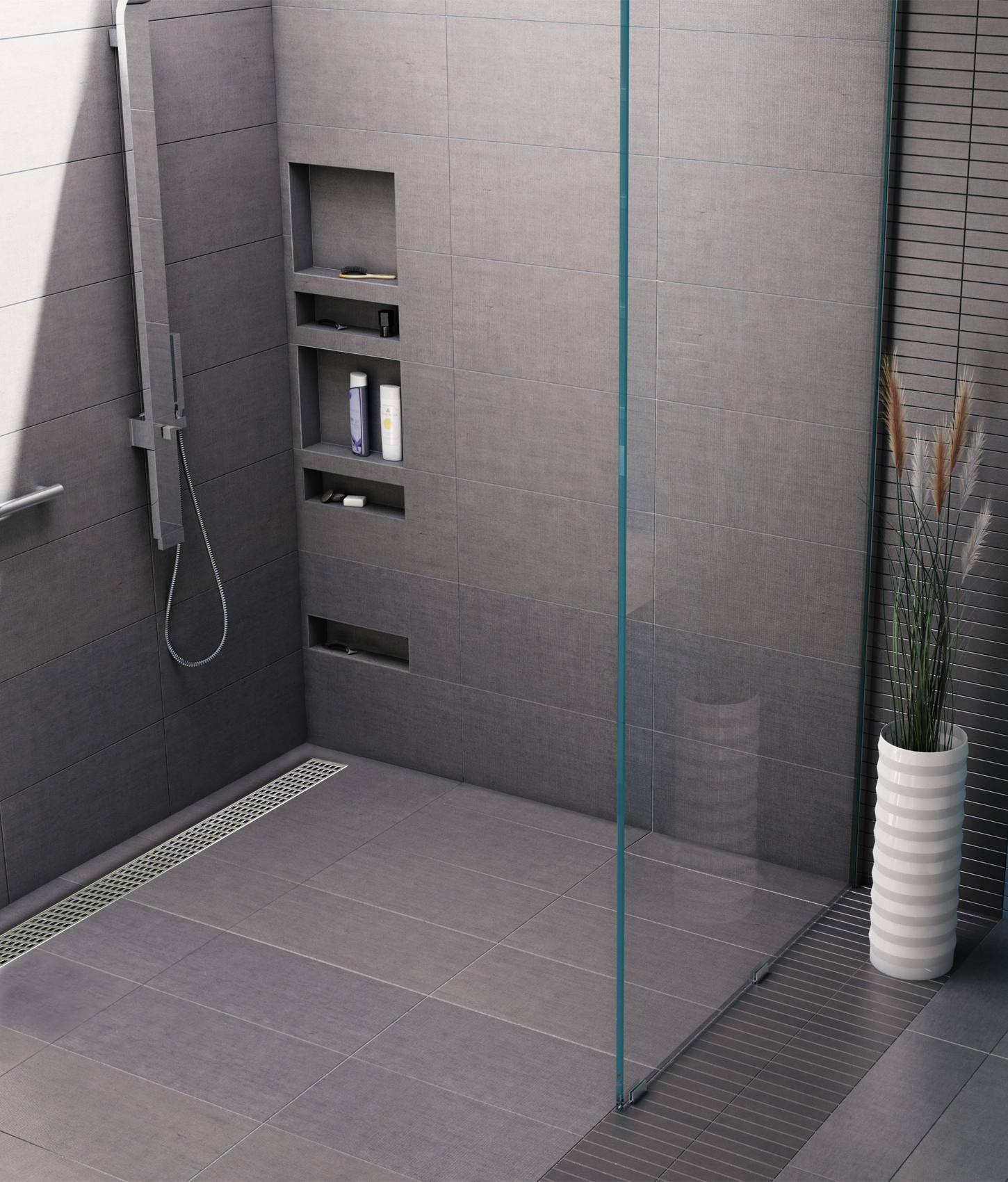 Shower Pan Features Trench Barrier Free Design Coverings